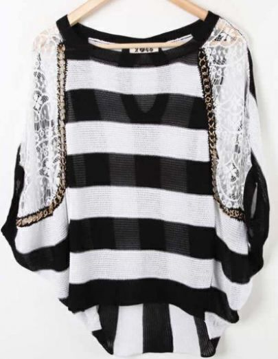 Black White Dolman Sleeve Lace Striped Cut Out Back Sweaters