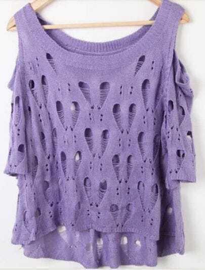 Purple Dolman Sleeve Cut Out Shoulder Open Mesh Stitch Sweaters