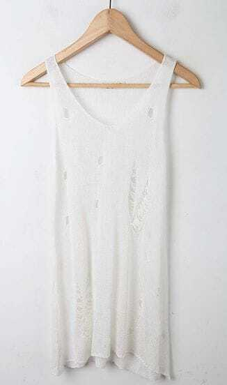 White Slash Cut Out Front Tank Top Sweaters