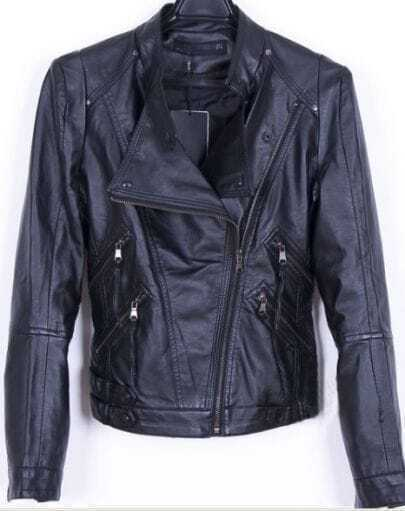 Black Long Sleeve Biker Motorcycle Jacket