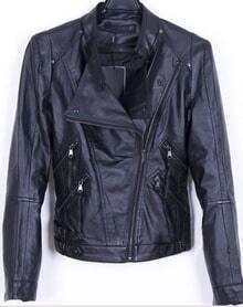 Black Long Sleeve Biker Motorcycle Jacket