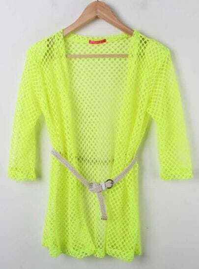 Yellow Half Sleeve Long Open Mesh Stitch Sweater Outwear