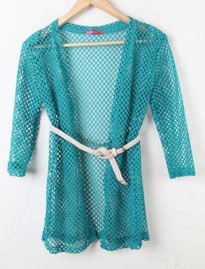 Light Blue Half Sleeve Long Open Mesh Stitch Sweater Outwear