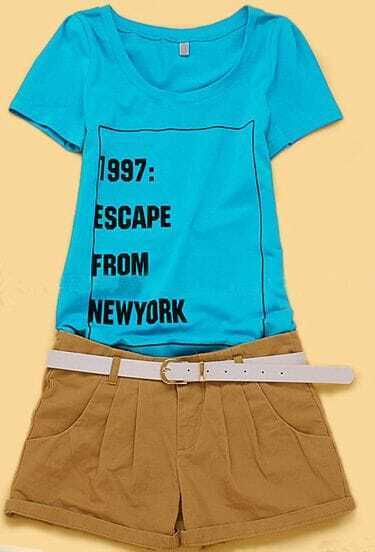Blue Short Sleeve 1997 ESCAPE FROM NEWYORK Print T-shirt