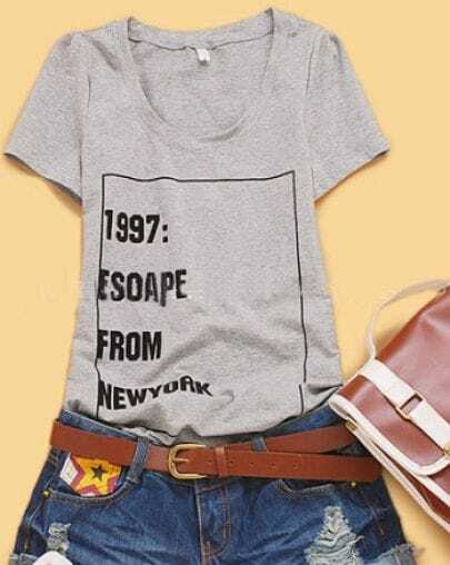 Grey Short Sleeve 1997 ESCAPE FROM NEWYORK Print T-shirt