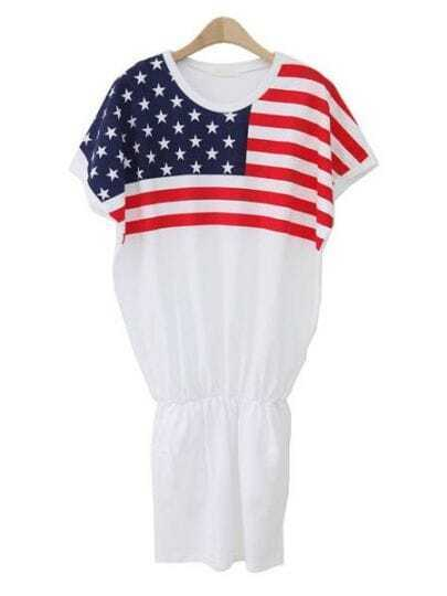 White Round Neck Short Sleeve American Flag Print Cotton Dress