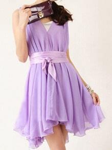 Purple Round Neck Sleeveless Ruffles Asymmetrical Chiffon Dress