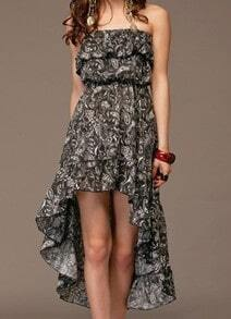 Black Strapless Asymmetrical Ruffles Floral Chiffon Dress