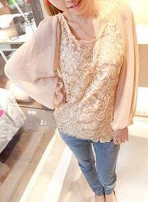 Ivory Lace Contrast Chiffon Puff Long Sleeve Blouse