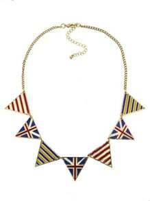 Union Jack and Striped Triangle Collar Necklace