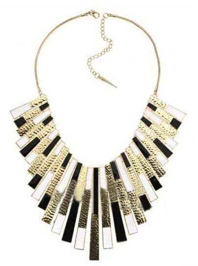 White Black Ribbon and Burnished Gold Collar Long Necklace