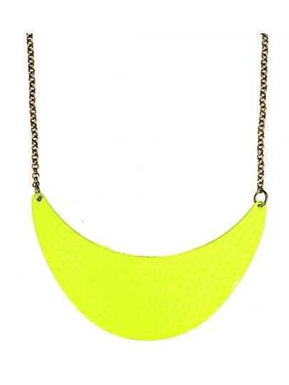 Neon Yellow Dappled Metal Crescent Collar Necklace