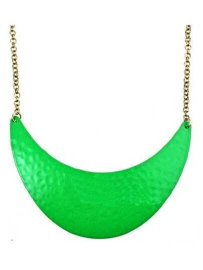 Neon Green Dappled Metal Crescent Collar Necklace