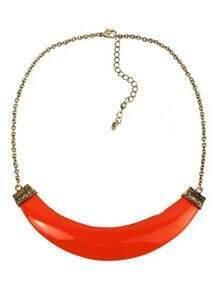 Neon Orange Faux Stone Crescent Collar Necklace