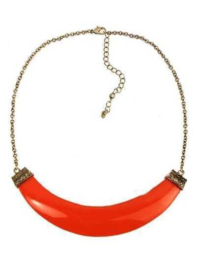 Neon Orange Faux Stone Crescent Collar Necklace