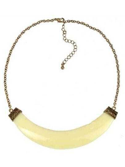 Neon Beige Faux Stone Crescent Collar Necklace