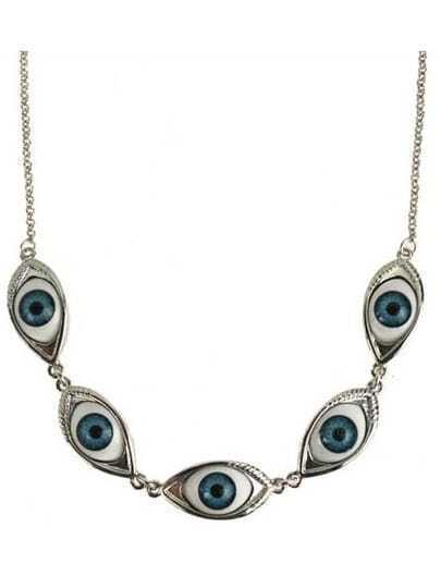 Silver Look Evil Eye Collar Necklace
