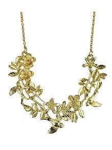 Goldtone Flower with Bird Long Collar Necklace