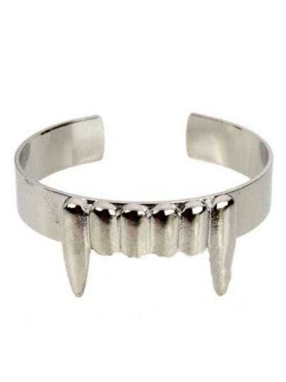 Silver Sharply Fangs Cuff Bracelet