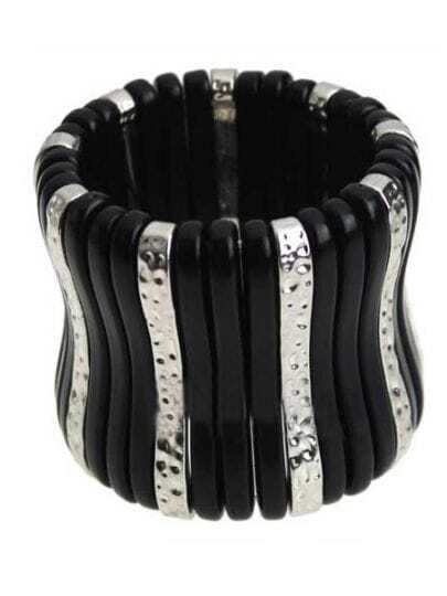 Black and Silver Shell Bar Stretch Bracelet