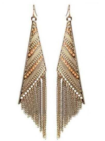 Gold Boho Triangle Drop Chian Tassels Dangle Earring