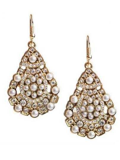 Peral with Rhinestone Teardrop Earrings