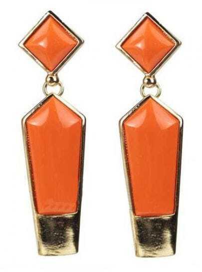 Orange Gemstone Square and Pentagon Drop Earring