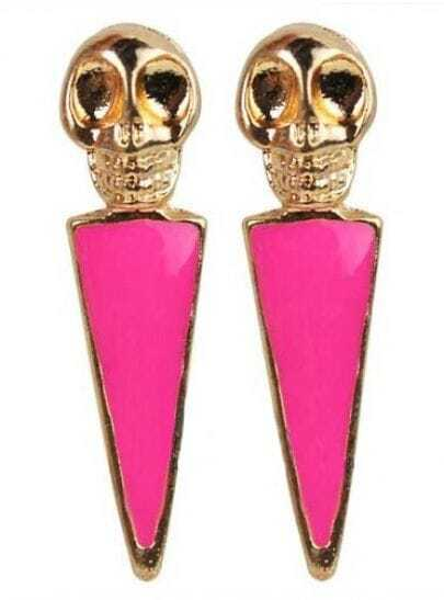 Rose Red Skull Skipe Drop Earring