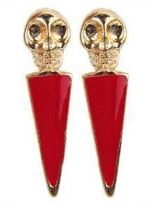 Red Skull Skipe Drop Earring