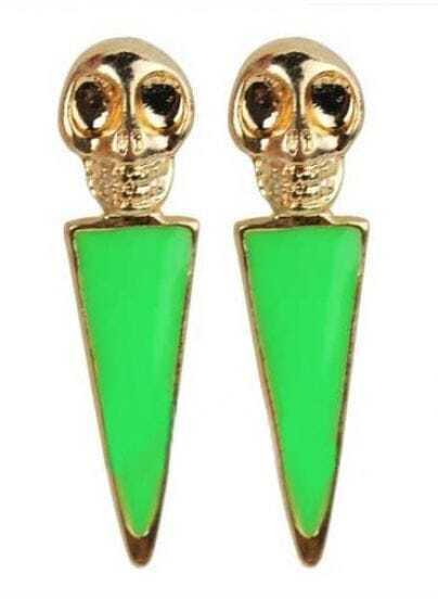Green Skull Skipe Drop Earring