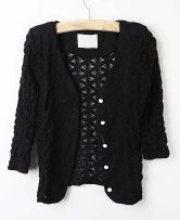 Black Floral Lace Hollow Out Three Quarter Length Sleeve Outwear