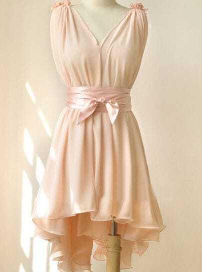 Pink Round Neck Sleeveless Ruffles Asymmetrical Chiffon Dress