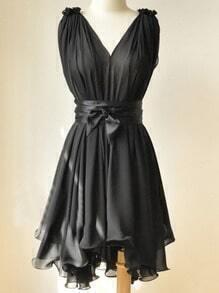 Black Round Neck Sleeveless Ruffles Asymmetrical Chiffon Dress