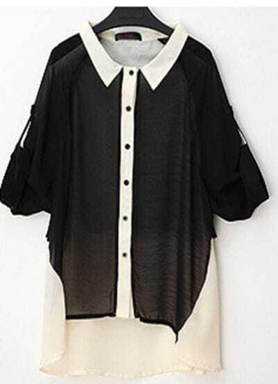 Black Roll Long Sleeve Contrast Dipped Back Hem Chiffon Shirt