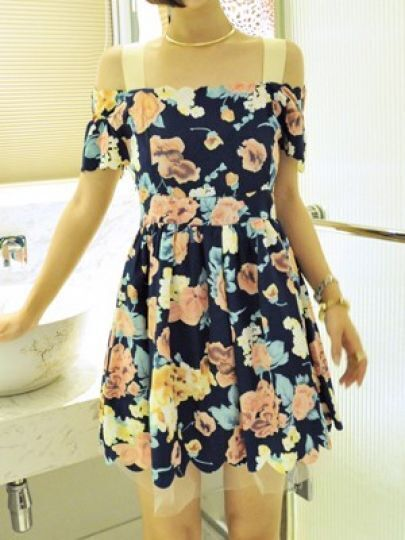 Blue Spaghetti Strap Off the Shoulder Floral Loose Dress
