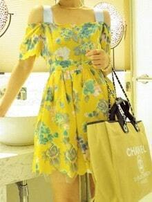 Yellow Spaghetti Strap Off the Shoulder Floral Loose Dress