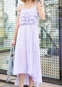 Purple Spaghetti Strap Cascading Ruffle Heart Chiffon Full-Length Dress