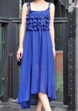 Blue Spaghetti Strap Cascading Ruffle Heart Chiffon Full-Length Dress