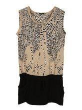 Nude Round Neck Sleeveless Leopard Low Waist Chiffon Dress
