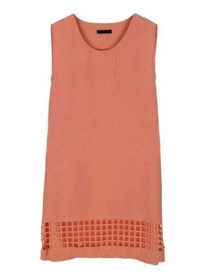 Pink Round Neck Sleeveless Loose Mid Waist Hollow Chiffon Dress