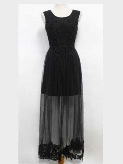 Black Round Neck Sleeveless Lace High Waist Cotton Dress