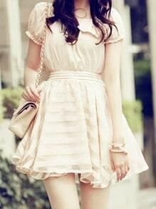 Beige Round Neck Short Puff Sleeve Bow High Waist Dress
