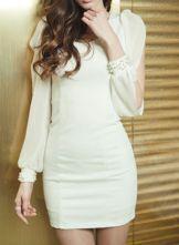 White Round Neck Long Split Sleeve Pearls Chiffon Dress