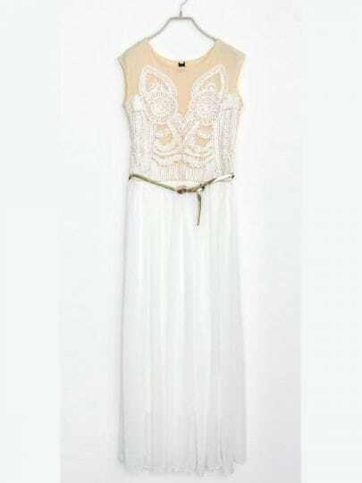 Ivory Round Neck Sleeveless Sheer Mesh Yoke Owl Chiffon Dress