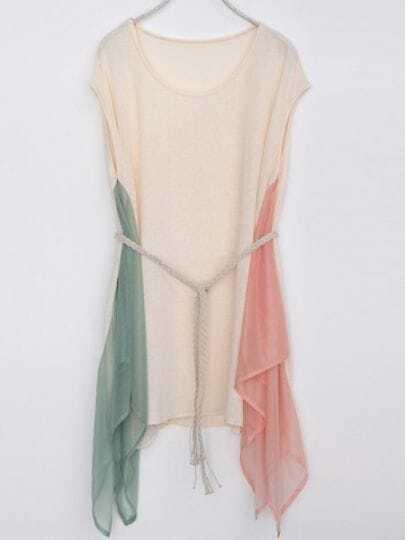 Ivory Round Neck Short Sleeve Asymmetrical Loose Cotton Dress