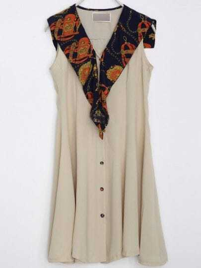 Ivory Vintage V Neck Sleeveless Single Breasted Scarf Polyester Dress