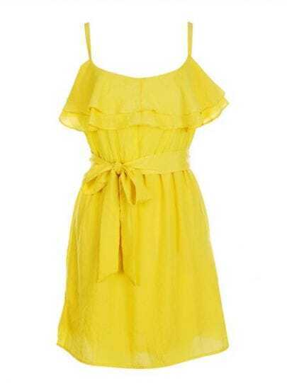 Yellow Spaghetti Strap Ruffles Drawstring Waist Chiffon Dress