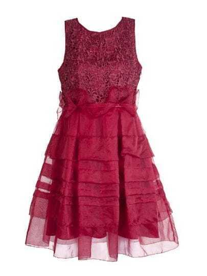 Red Round Neck Sleeveless Cascading Ruffle Polyester Dress