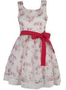 White Scoop Neck Sleeveless Floral Drawstring Waist Polyester Dress