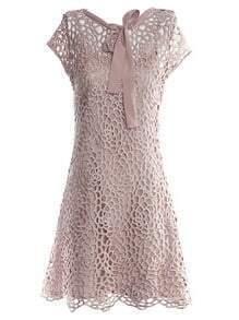 Khaki Round Neck Short Sleeve Hollow Bow Silk Dress